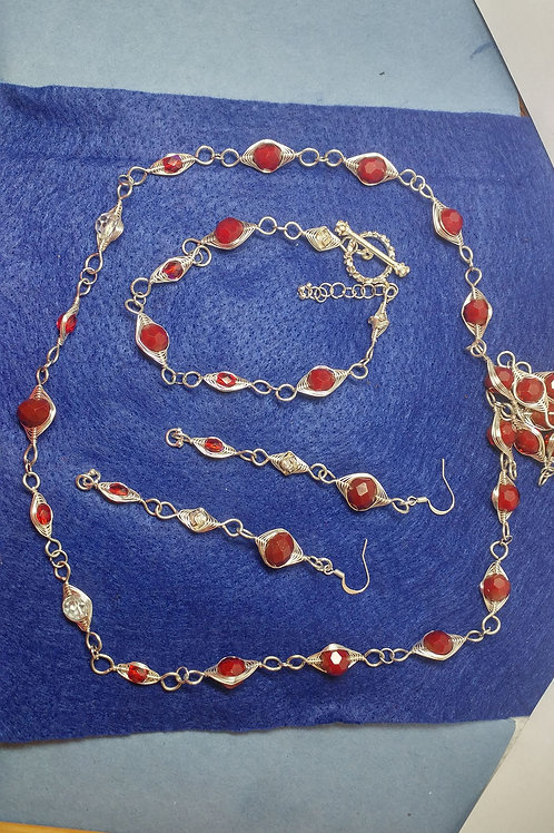 Red Glass Bead Complete Set