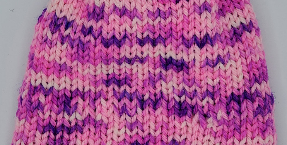 Handmade toddler knit double thickness bulky alpaca stocking hat - pink and purp