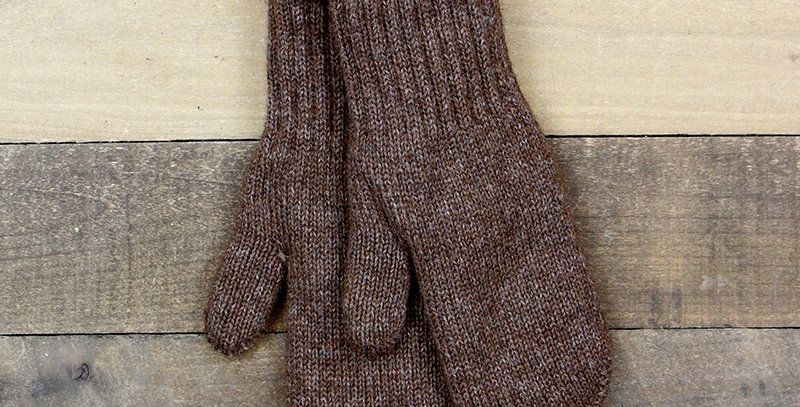 Boucle Lined Alpaca Mittens - brown
