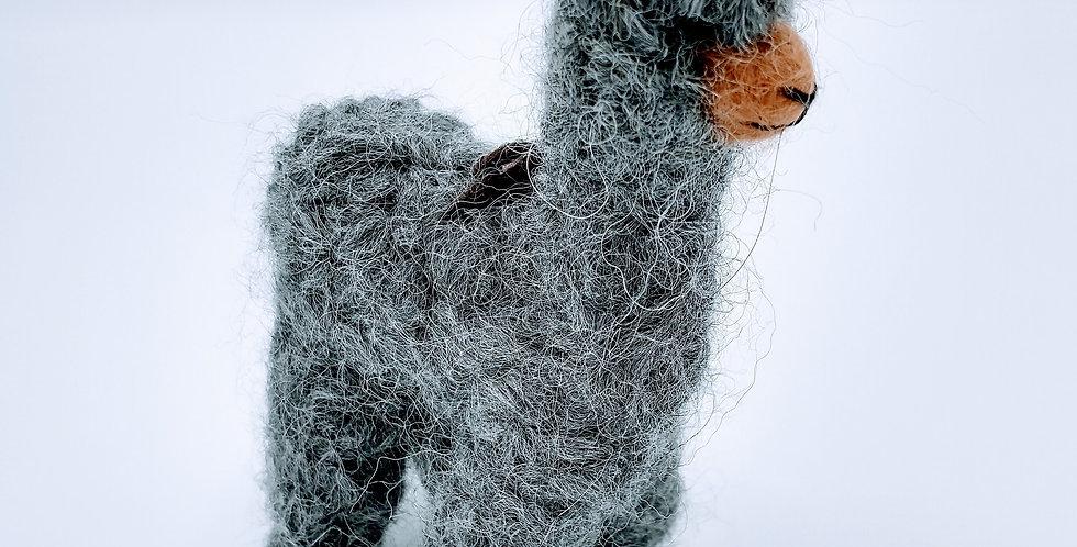 Cria Huacaya: 5.5″ Alpaca Fiber Sculpture - Gray