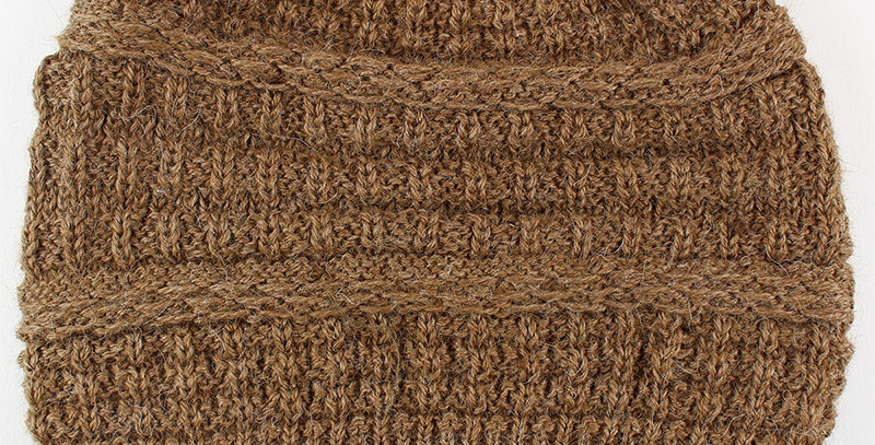Textured Alpaca Slouch Beanie - Fawn