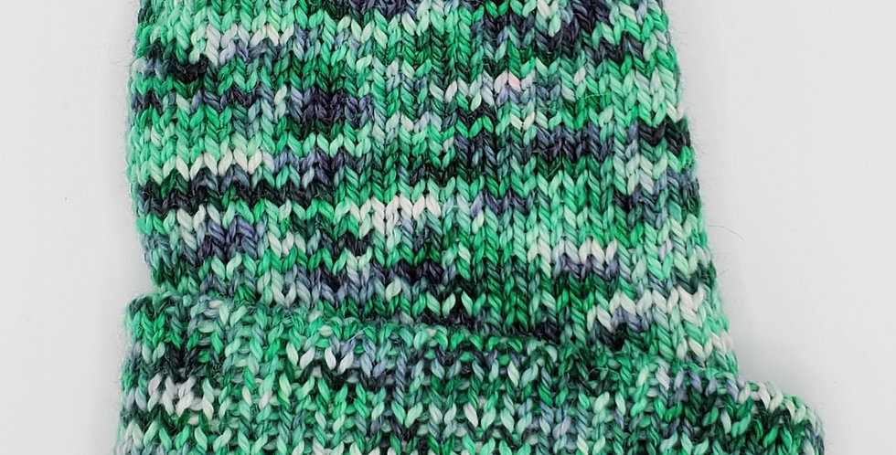 Handmade knit double thickness alpaca stocking hat - summer rainbow