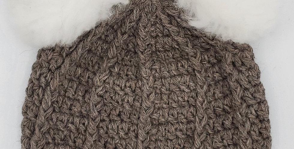 Handmade crocheted panda hat with vertical stripes - Rose Grey