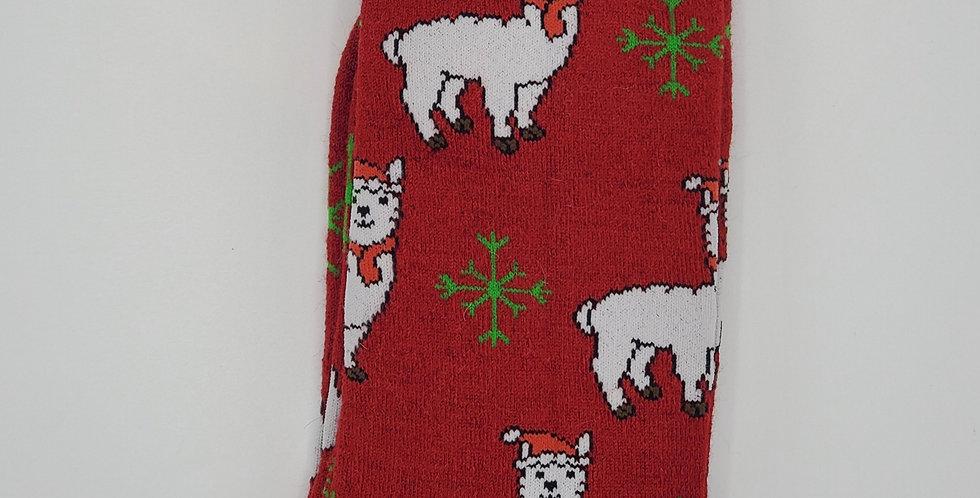 Christmas Print Alpaca Crew Sock - Alpacas with Hats - Red