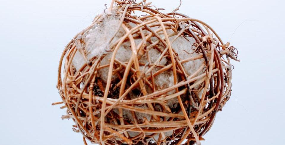"Alpaca Fiber Filled Bird Nesting Globe - 4""sphere stuffed with fleece"