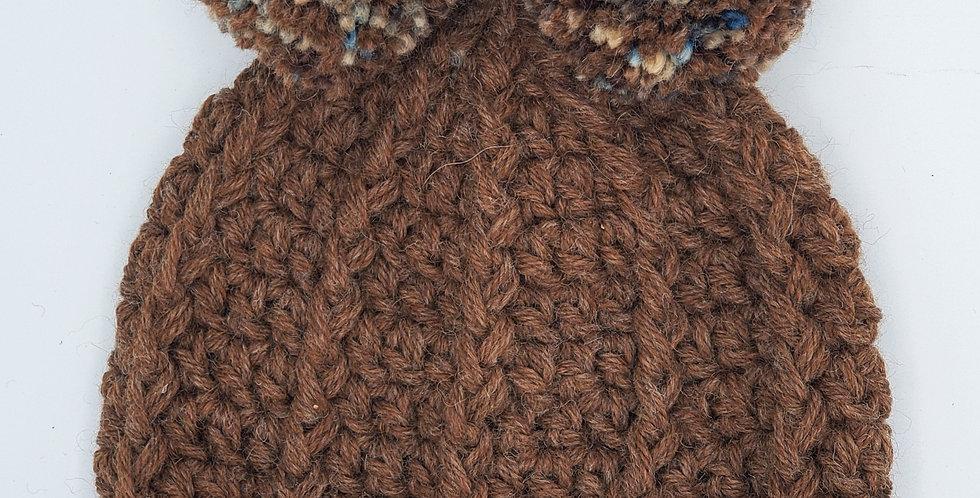 Handmade children's crocheted panda hat - brown