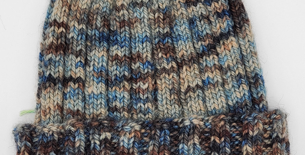 Handmade alpaca stocking hat - earth tones