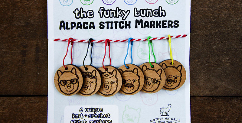 """The Funky Bunch"" Alpaca Stitch Markers - 6 PACK"