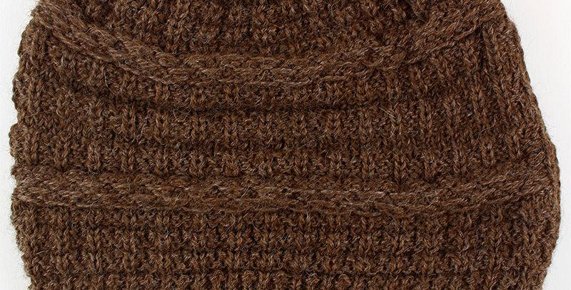 Textured Alpaca Slouch Beanie - Brown