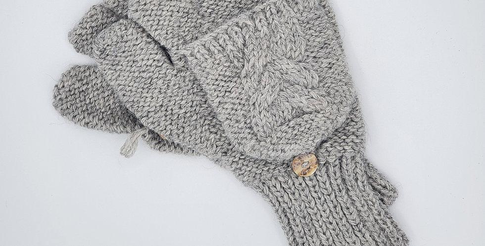 Cable Knit Alpaca Glittens - Silver