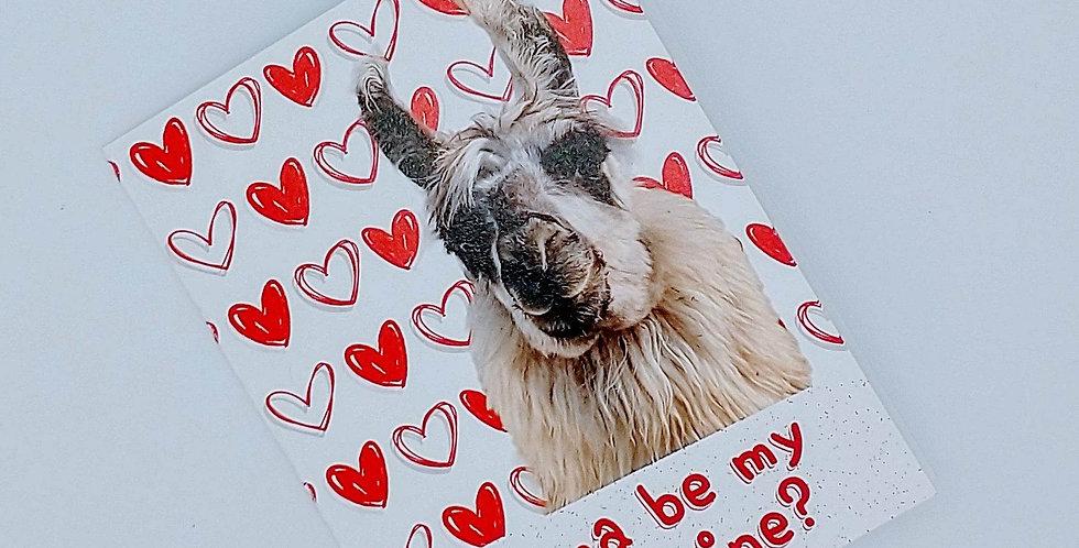 Llama be my Valentine? greeting card