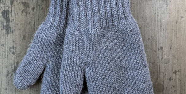 Bold Boucle Lined Mittens - Slate Grey