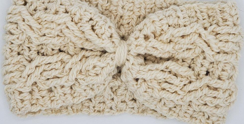 Handmade crocheted cinched headband - natural