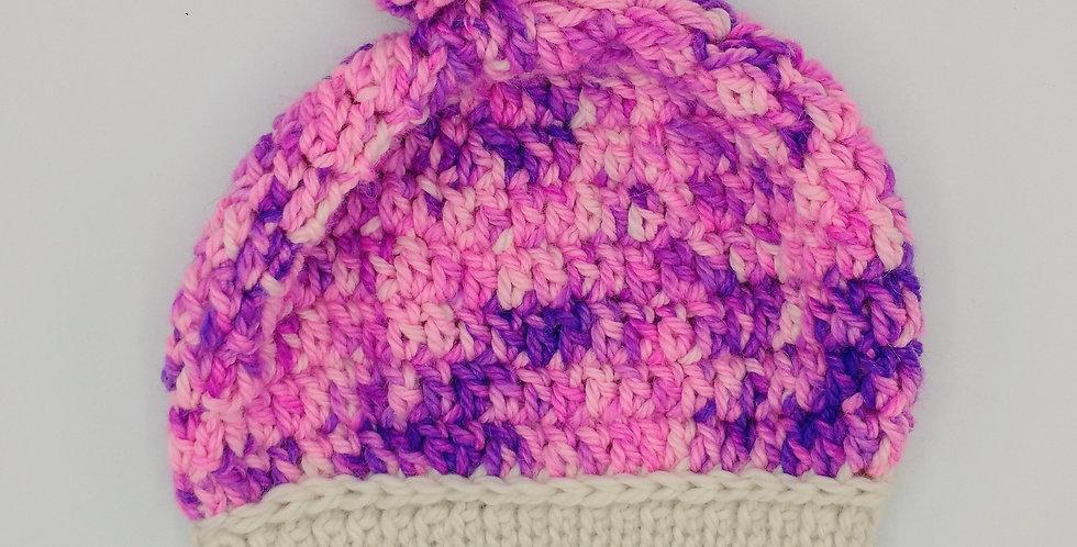 Handmade crocheted bonnet - pink and purple