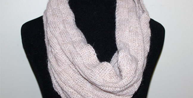Basketweave Infinity Scarf - Rose Grey
