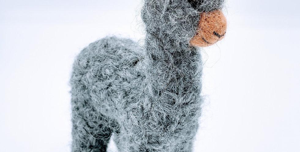 Mama 6.5″ Alpaca Fiber Sculpture - Gray