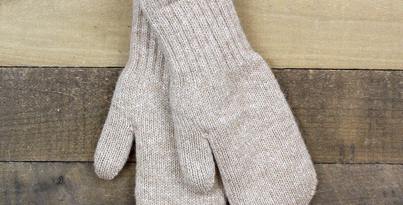 Boucle Lined Alpaca Mittens - fawn