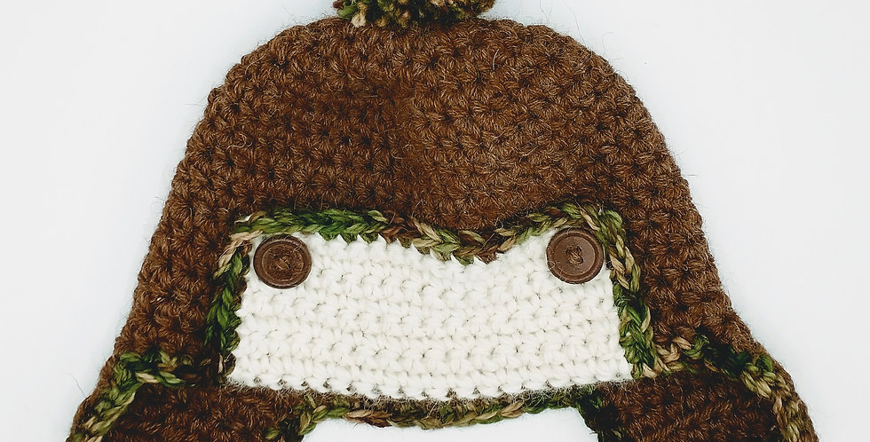 Handmade crocheted toddler hat with ears - Brown with camo pom