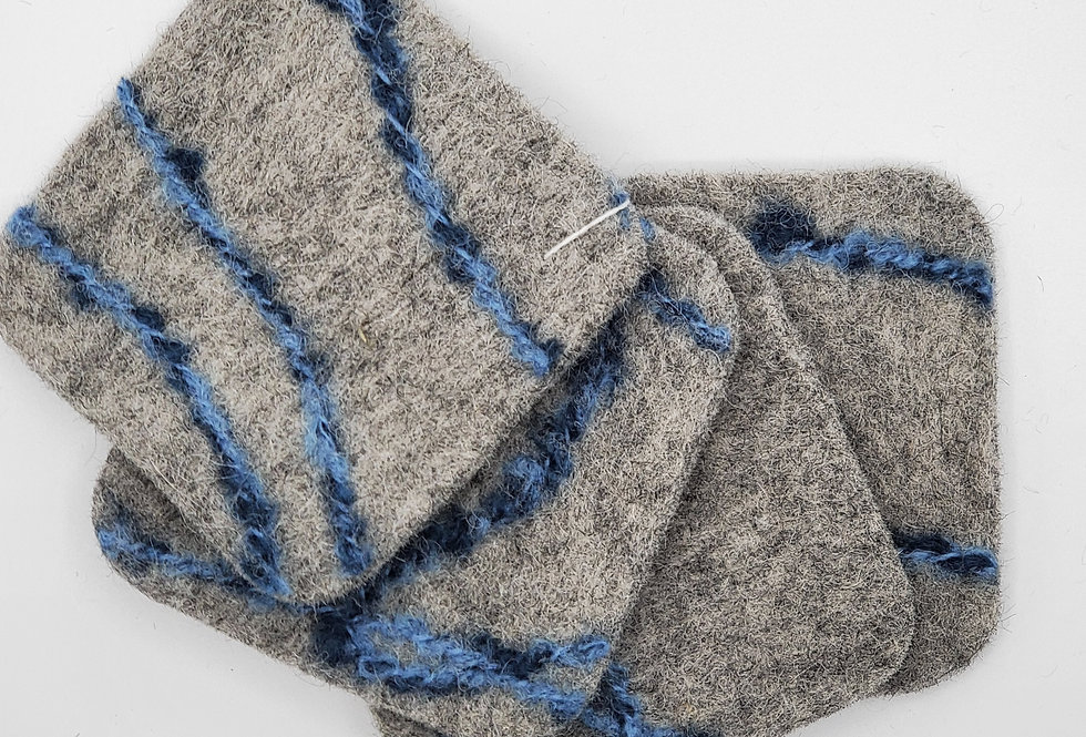 Gray felted coasters