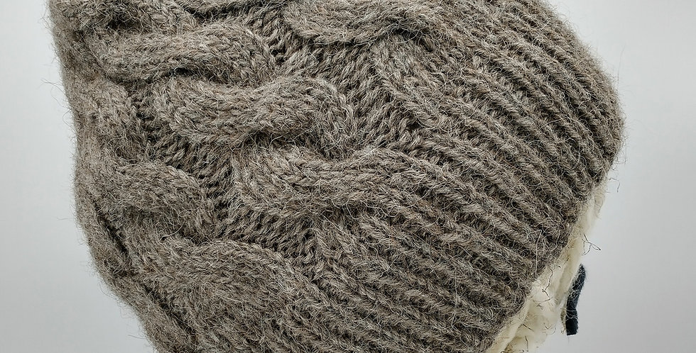 Handmade alpaca cable hat - rose grey
