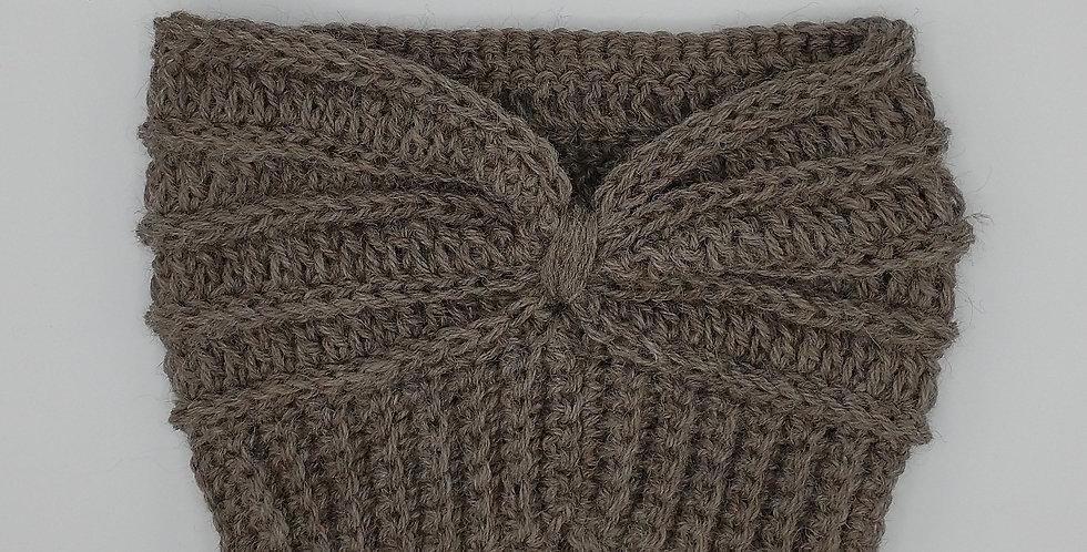 Handmade crocheted extra wide headband - rose grey