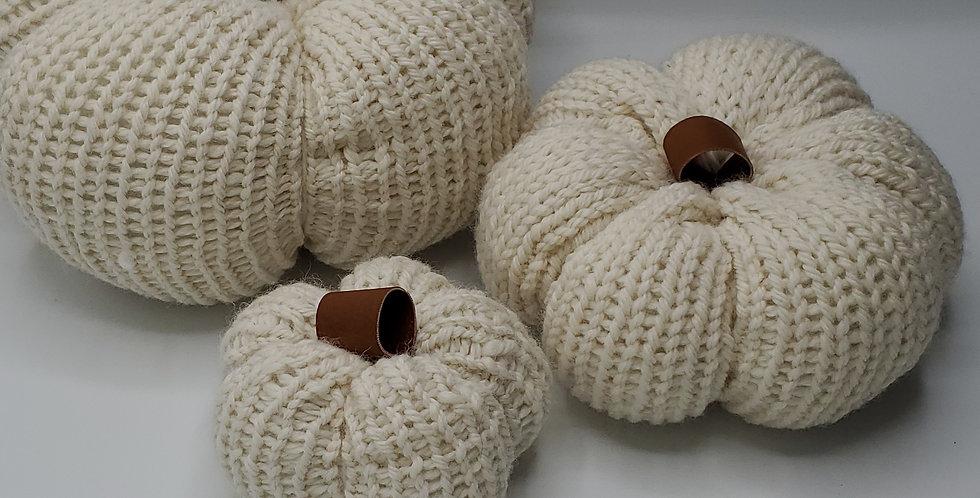 Handmade Pumpkin - set of 3 neutral