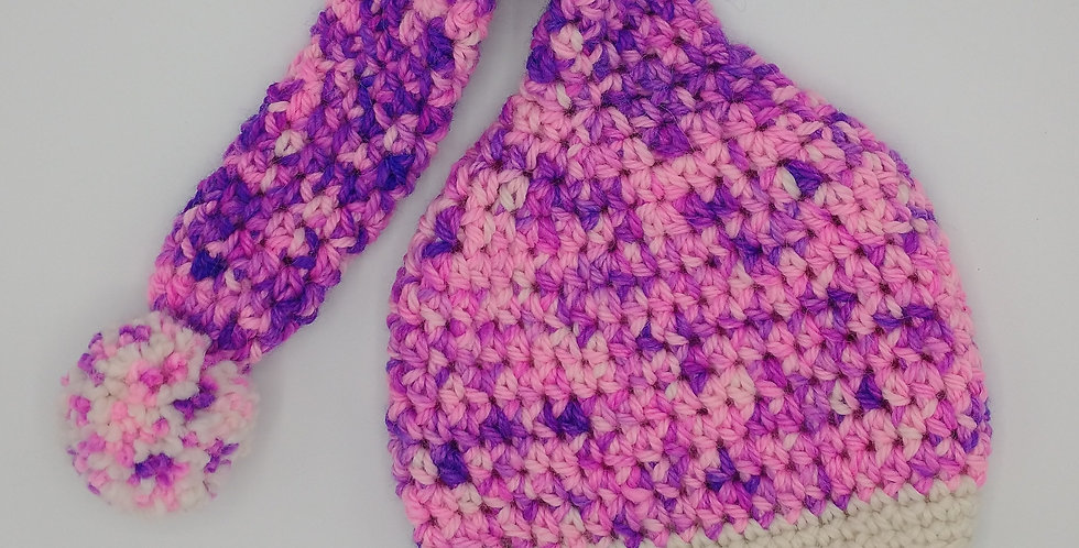 Handmade children's Whooville crocheted cap - pink and purple