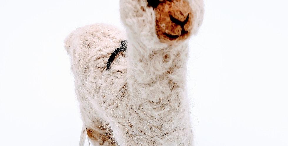 Cria Huacaya: 5.5″ Alpaca Fiber Sculpture - Fawn