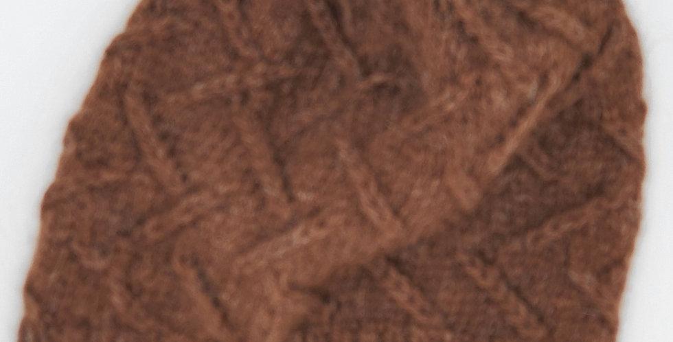 Handmade alpaca zig-zag hat - brown