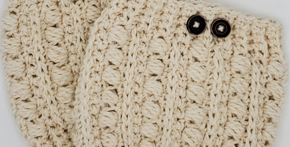 Handmade boot cuffs cable knit - natural