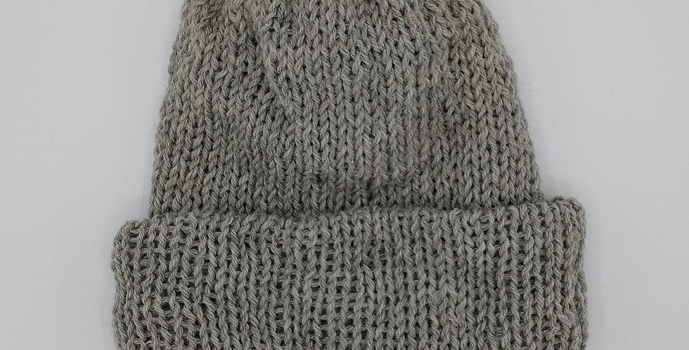 Handmade knit double thickness alpaca stocking hat - grey