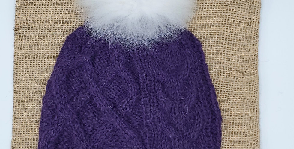 Pom-Pom Cable Alpaca Hat Blend