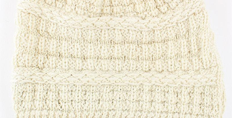 Textured Alpaca Slouch Beanie - White