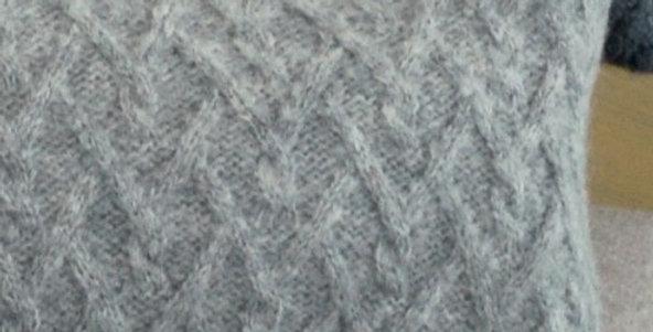Lattice Cable Pillow - Light Grey