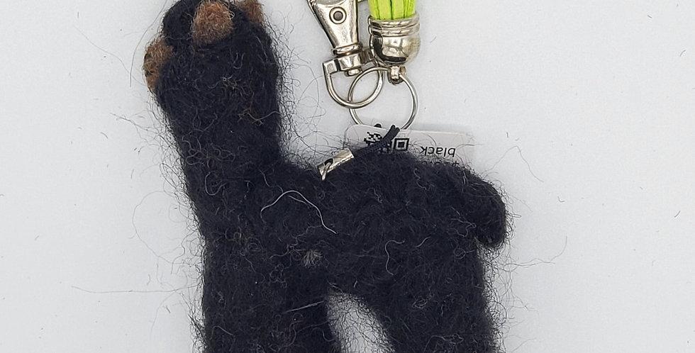 Alpaca Bag Charm: Needle Felted Miniature - Black
