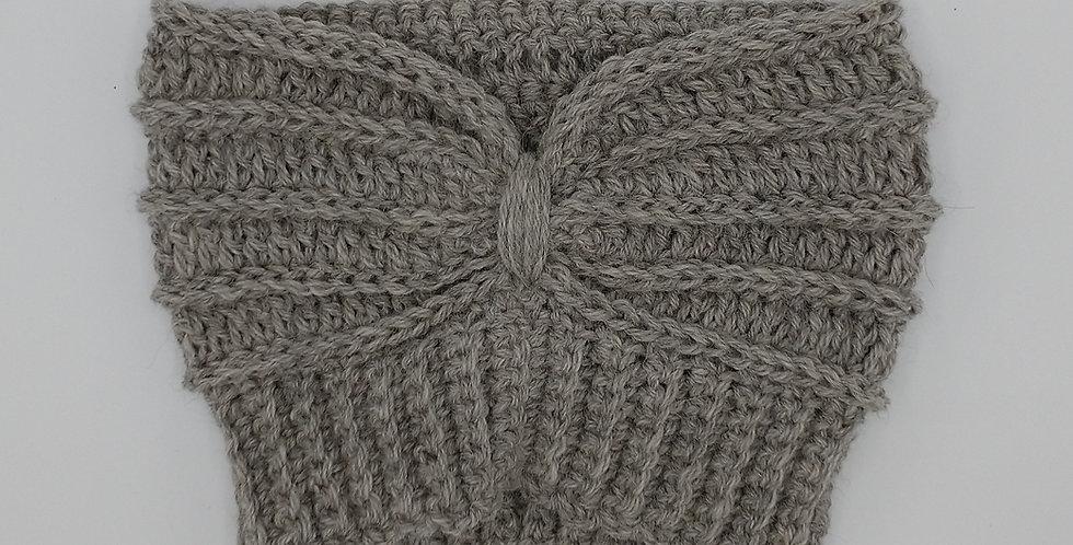 Handmade crocheted extra wide headband - silver