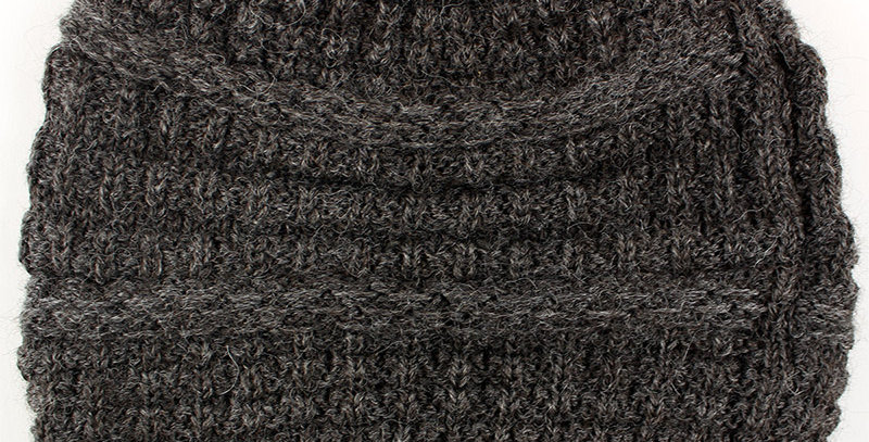 Textured Alpaca Slouch Beanie - Grey