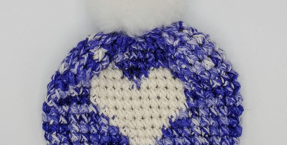 Handmade children's heart hat - purple delight