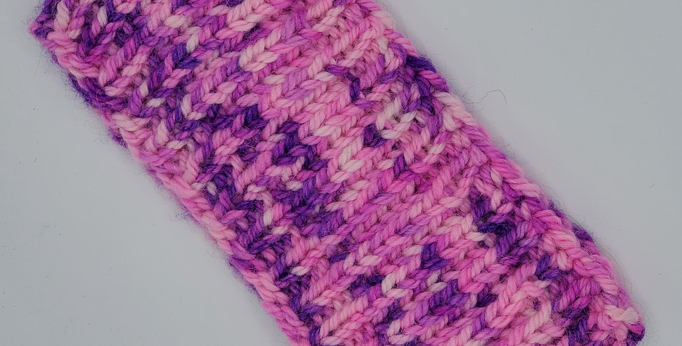Handmade adult headband brioche stich in middle - pink and purple