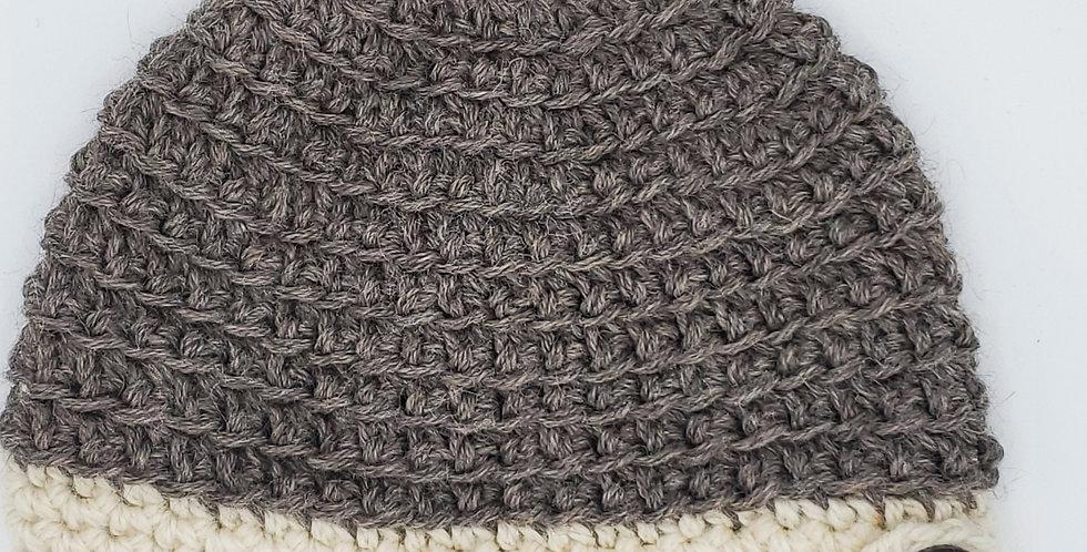 Handmade alpaca messy bun hat