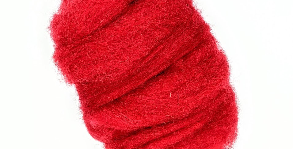Roving - 100% Wool - 3.5 oz. Red