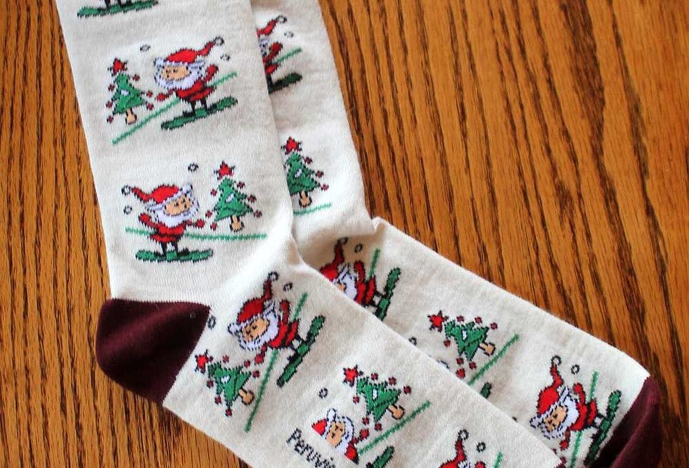 Christmas Print Alpaca Crew Sock - Santa with Snowboard