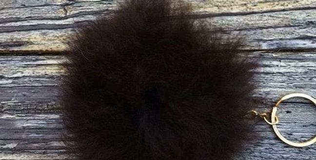 Alpaca Fuzzball Key Chain - Black