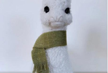 "Large 9"" Baby Alpaca Ornament - Green Scarf"