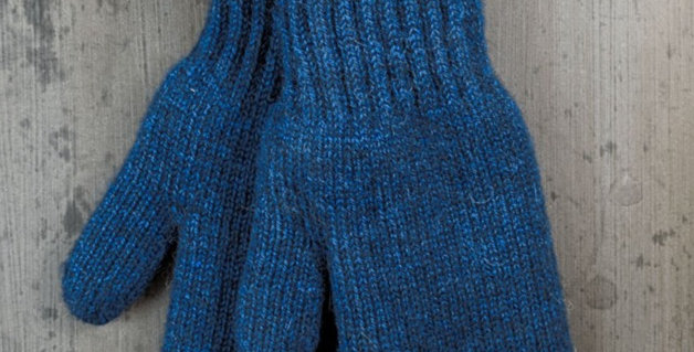 Bold Boucle Lined Mittens - Atlantic Blue
