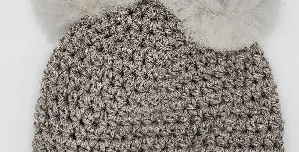 Handmade crocheted panda hat - Silver