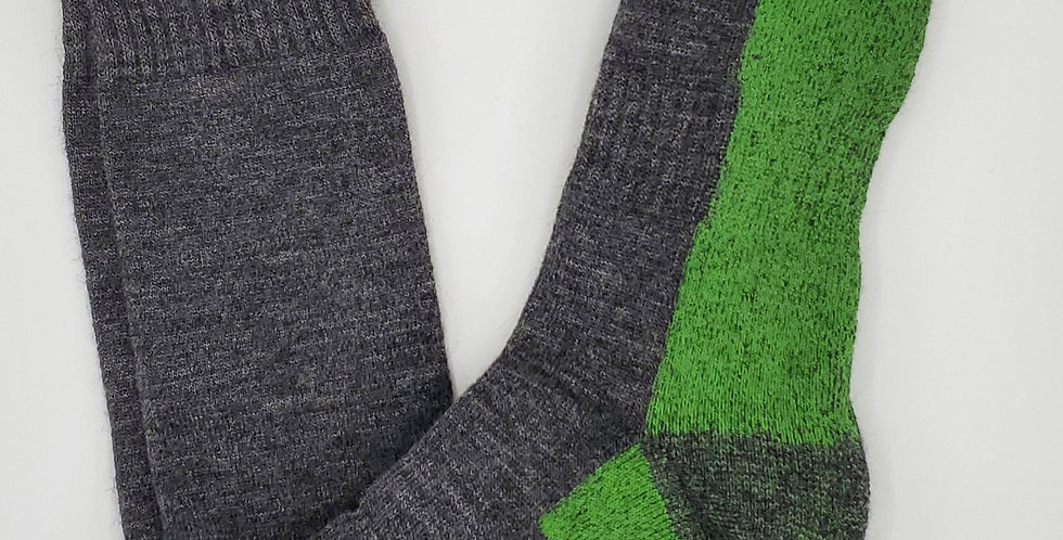 Ultimate Alpaca Sock - Gray with electric Green Thread