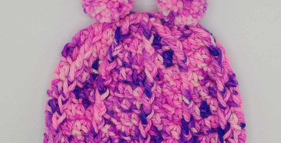 Handmade children's crocheted panda hat - pink and purple