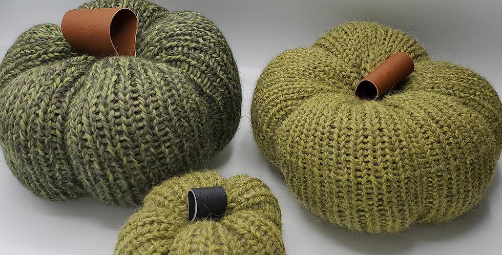 Handmade Pumpkin - set of 3 Green