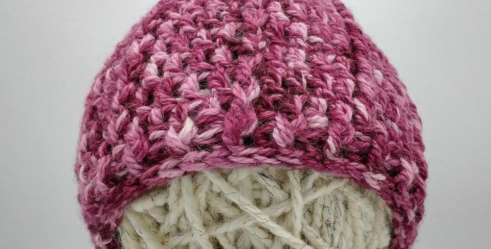 Handmade crocheted pom pom hat - sophisticated lady